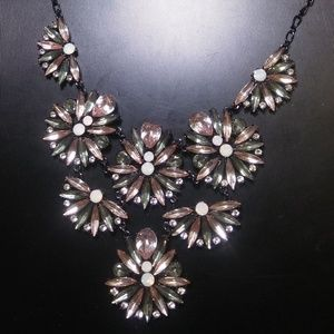 Reversible Pale Green & Pink Necklace With Crystal
